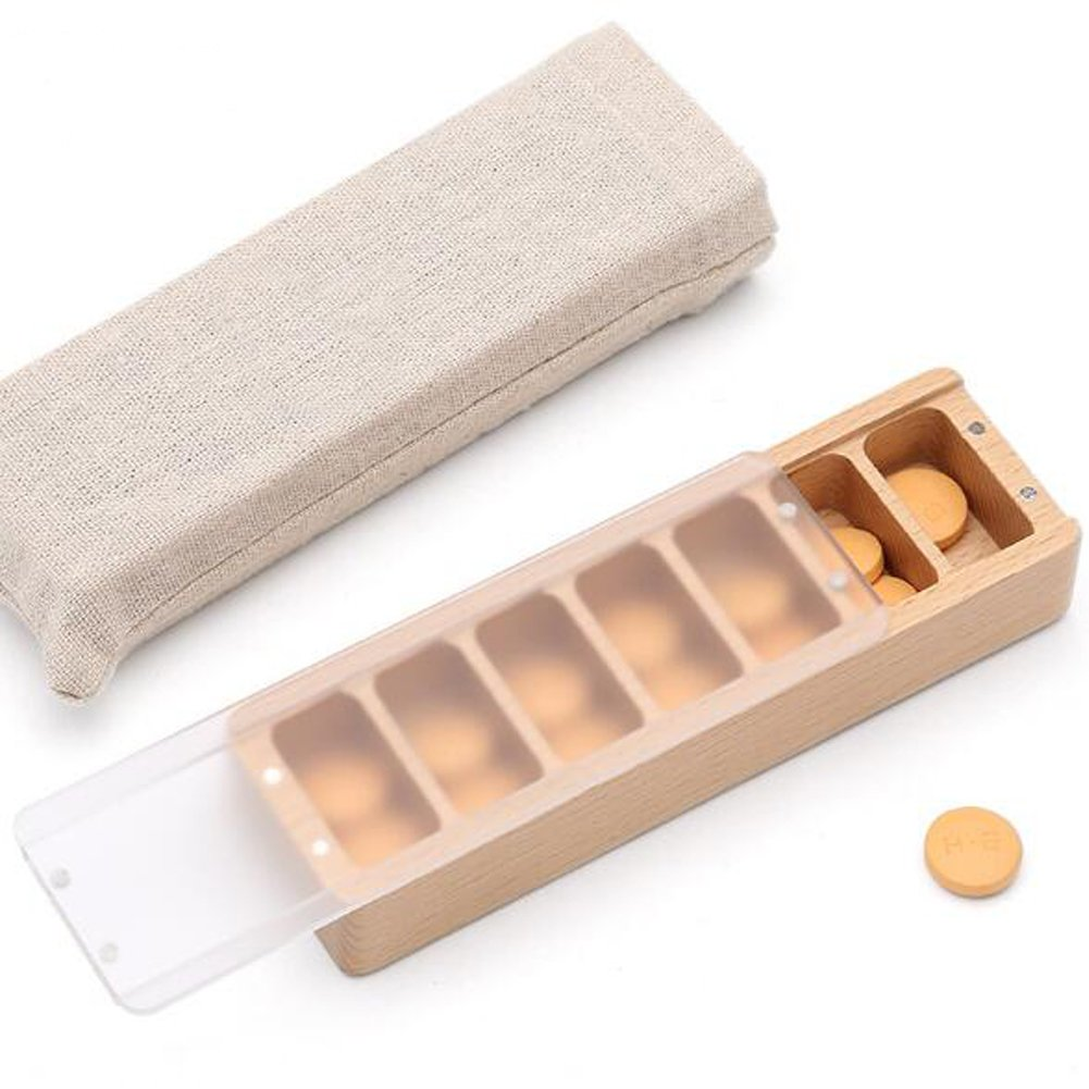 KINGZHUO Natural Beech Wood Weekly Pill Box Pro Organizer System for Medications Supplements and Vitamins You Can Get the Pill You Want Also Can Used As Jewelry Box Convenient To Carry