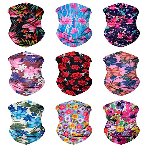 Sojourner 9PCS Seamless Bandanas Face Mask Headband Scarf Headwrap Neckwarmer & More - 12-in-1 Multifunctional for Music Festivals, Raves, Riding, Outdoors (9PCS Tropical Series 1)