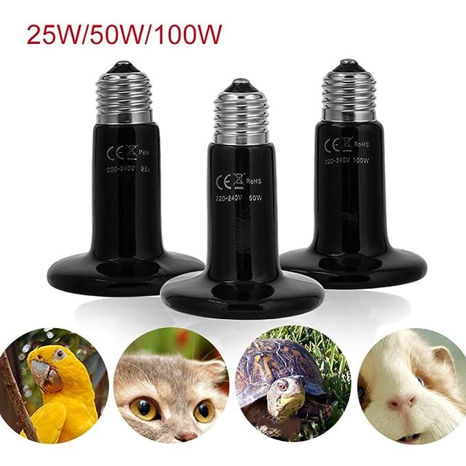 100W L/ámpara de luz de Bombilla emisora de Calor de cer/ámica Sin luz emitida para Reptil Tortuga criadora de Mascotas El Mejor Precio 50W Togames-ES 25W