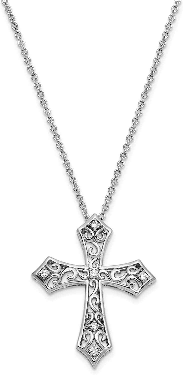 CZ Antiqued Love Cross Pendant Necklace Rhodium-Plated Sterling Silver 25x22MM 18