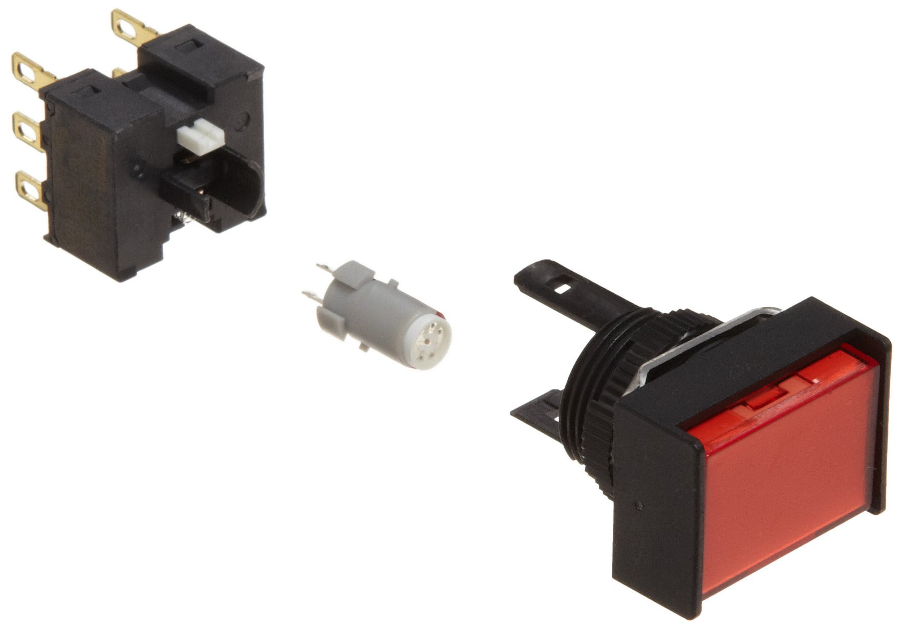 Omron A165L-JRM-12D-2 Two Way Guard Type Pushbutton and Switch, Solder Terminal, IP65 Oil-Resistant, 16mm Mounting Aperture, LED Lighted, Momentary Operation, Rectangular, Red,12 VDC Rated Voltage, Double Pole Double Throw Contacts
