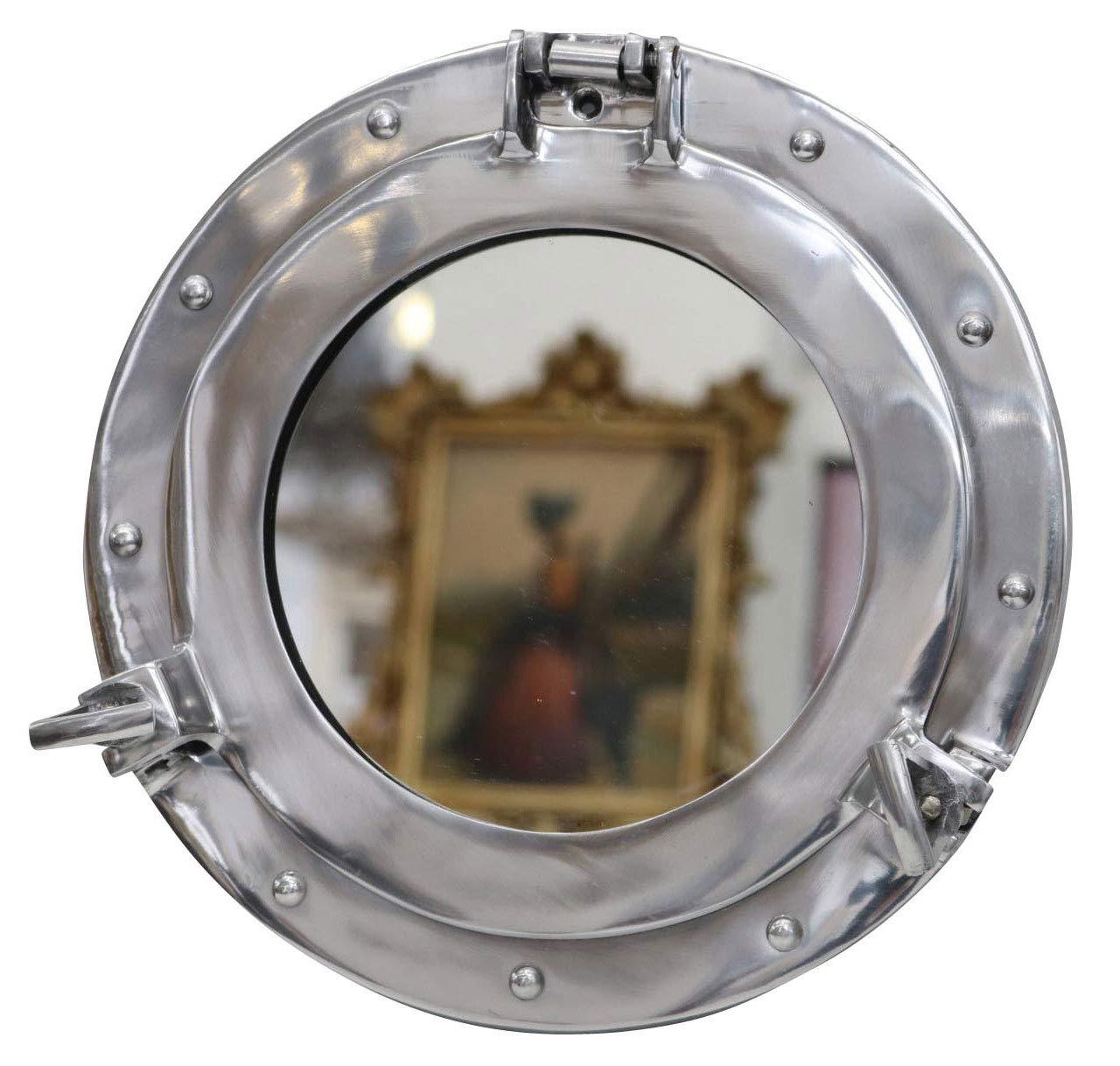 aubaho Porta con Espejo Ojo de Buey Abierta Barco Deco mar/ítima de Plata 26cm
