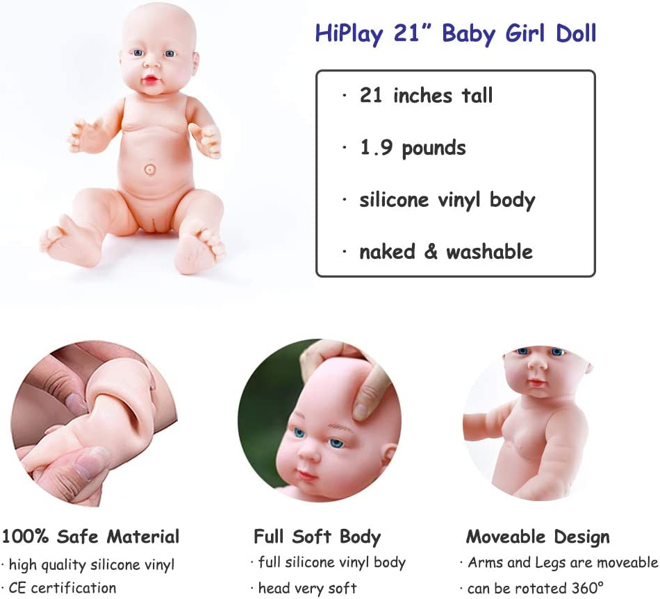 Size /& Gender Selectable HiPlay Realistic Baby Doll Lifelike Silicone Vinyl Naked Boys//Girls Newborn Baby Dolls for Kids Toys//Nursing Practice//Teaching//Photography 21-Boys