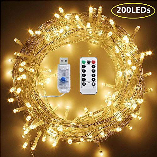 72FT 200 LED String Lights Warm White, Plug in String Lights 8 Modes Waterproof Fairy String Lights with Remote for Indoor Outdoor Christmas Tree Wedding Party Bedroom Wall Decoration (USB Powered)