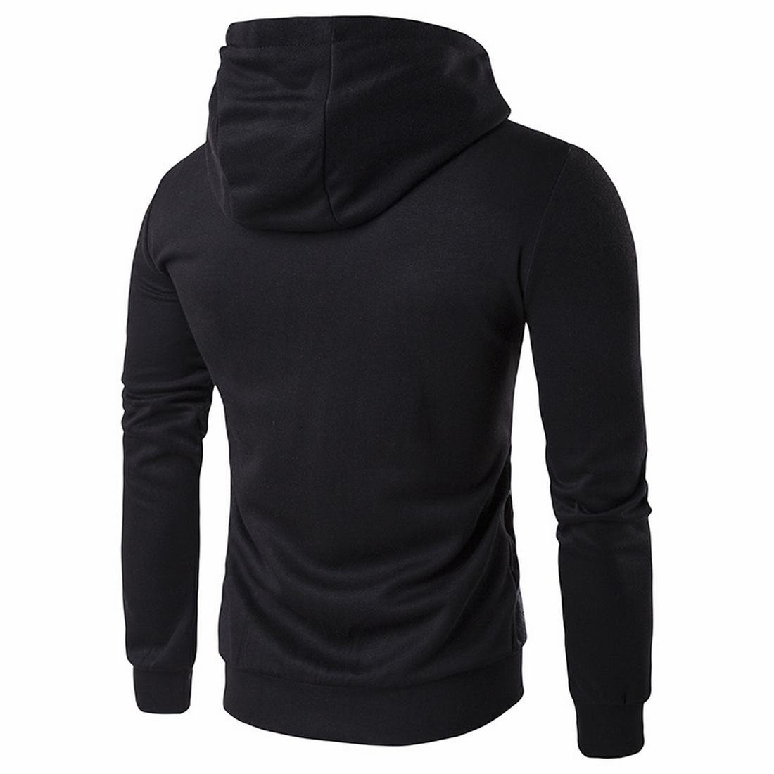 Honey GD Mens Zipper Hooded Cozy Stylish Long Sleeve Sweatshirts