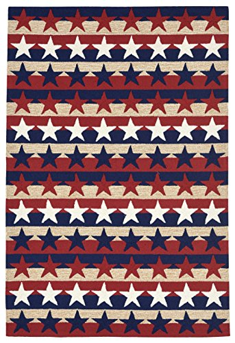 Whimsy Stripes - Liora Manne Whimsy Patriot Stripes Indoor/Outdoor Rug, 7'6 x 9'6, Americana Red