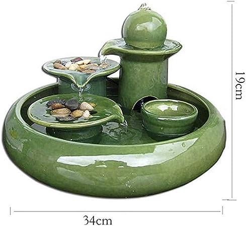 PHMCZ Decoración Interior De La Fuente, Jardín Feng Shui Decoración Interior Fuente De Agua Decoración Decoración Fuente,Green,19 * 34cm: Amazon.es: Hogar