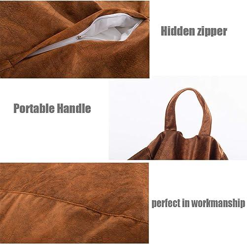 Plush Microsuede Bean Bag Chair Cover No Filler Stuffed Animal Storage or Memory Foam Beanbag Replacement Cover