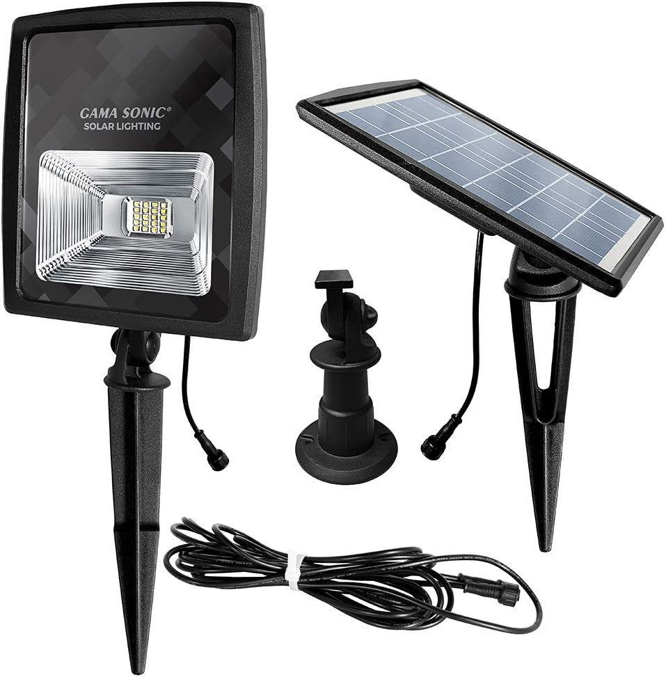 Gama Sonic Solar Powered Flood Light, Warm White LEDs, Outdoor Stake or Flat Mount, Black (GS-203)