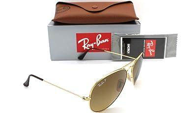 6bb2015e82df0 Amazon.com  Ray Ban Aviator Titanium Gold Polarized Brown Gradient Rb 8041  001 m2 58mm New  Shoes