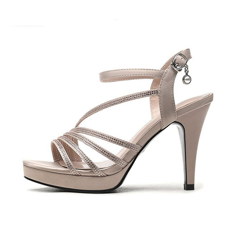 Women es High Heel Sandale Offene Zehen Knouml;chel Schnalle Riemen Pumpe Abendkleid Casual Party Stiletto Schuhe  36 EU|Beige