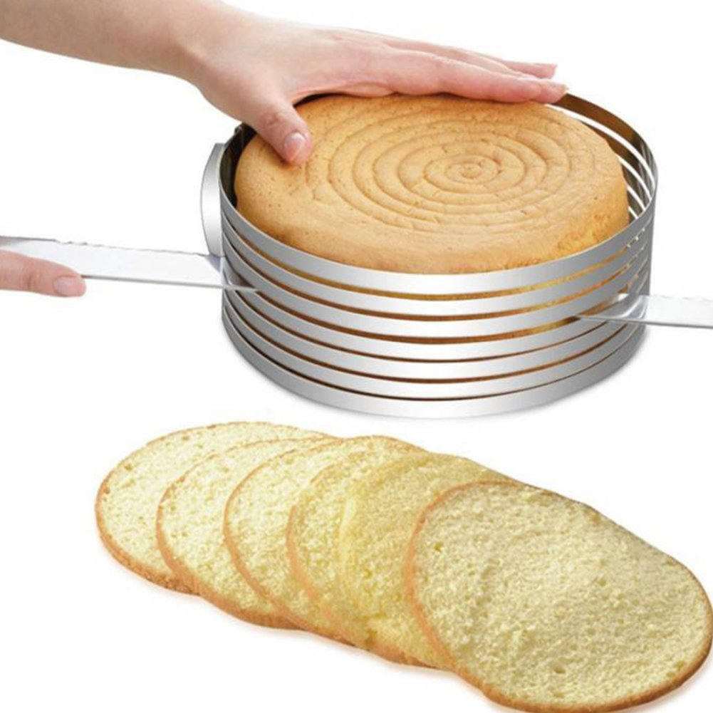 Acciaio inossidabile torta a strati affettatrice, tondo regolabile anello torta pane cutter Mold Kitchen DIY baking Tools Taglia libera Silver Hinmay