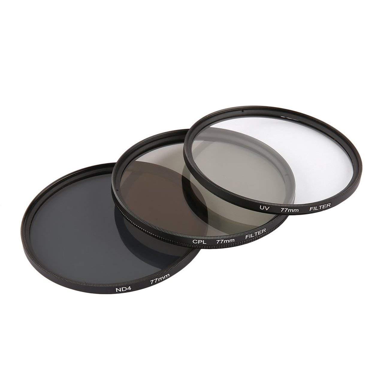 Onleny 52/58/62/67/72 / 77mm UV CPL ND4 Filter Aufbewahrungstasche + Reinigungsstift 5er Kit (Farbe: schwarz & orange) WOSOSYEYO