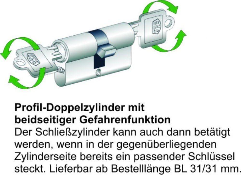 31//50mm GF mit 3 Schl/üssel Schlie/ßzylinder BKS Serie 50 livius L/änge