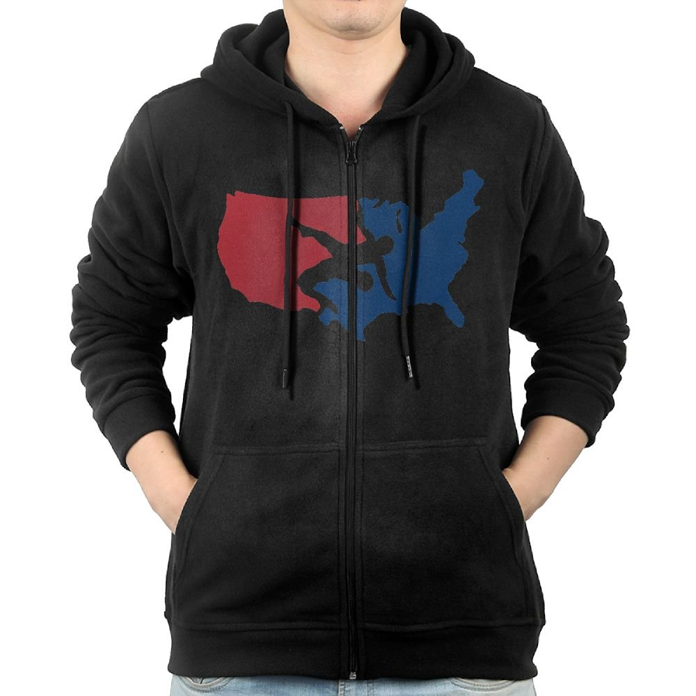 USA Wrestling Logo Men Floral Pullover Long Sleeve Hipster Hoodie Hooded With Pocket and Zipper by GHBDNK