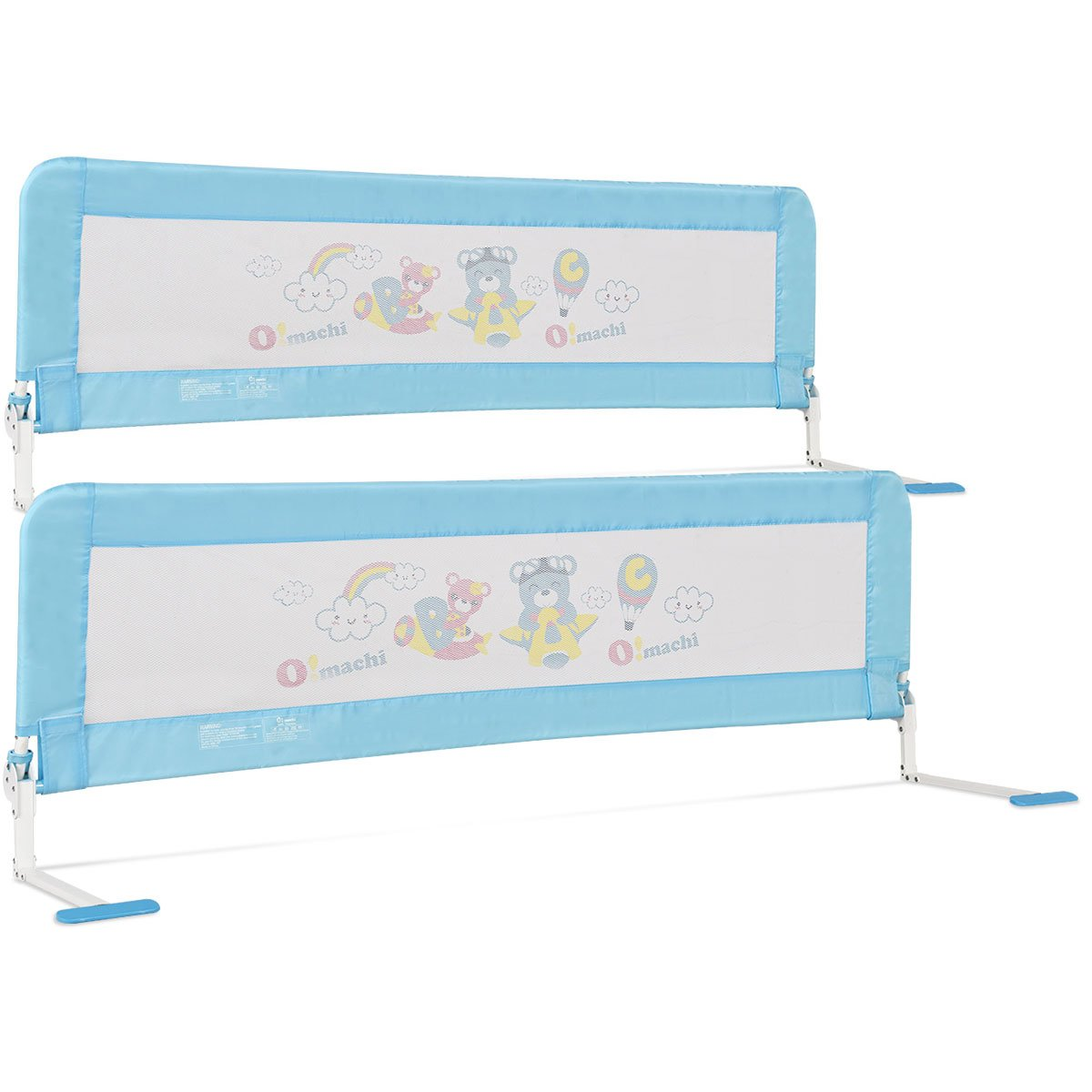 Costzon Toddlers Double Bed Rail Guard, Stainless Steel Folding Safety Bed Guard, Swing Down Bedrail for Convertible Crib, Kids Twin, Double, Full Size Queen & King, Set of 2 (Blue, 69-inch, Foamed)
