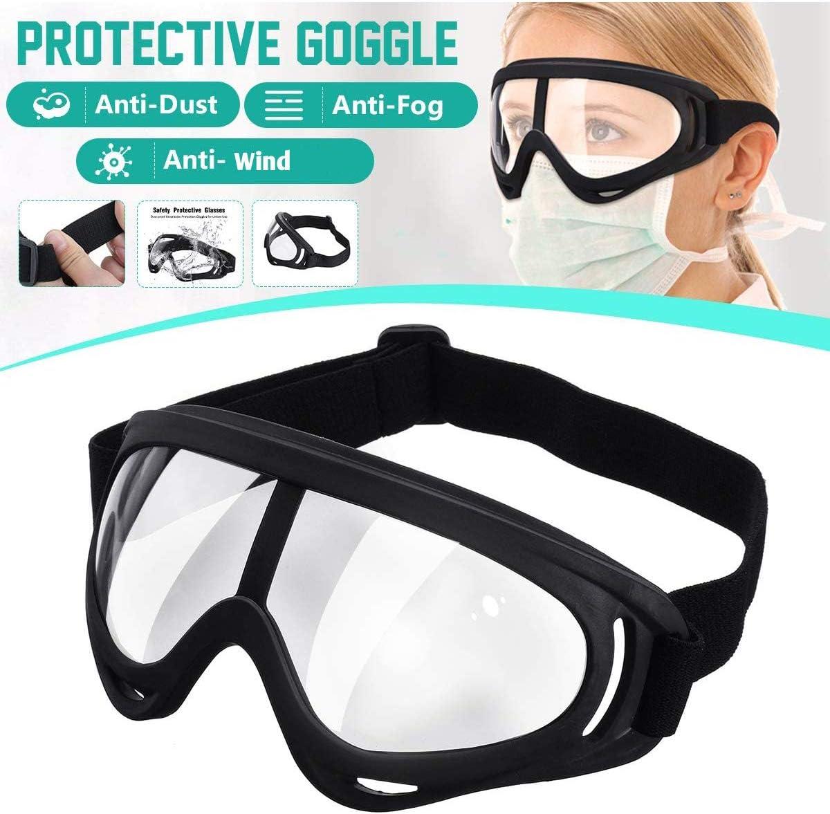 SGODDE Gafas de Seguridad, Cubregafas Protectoras, Lentes de Seguridad Antivaho, Gafas Protectoras de Seguridad de Obra Gafas Proteccion con Cinta Ajustable, Protección contra Impacto