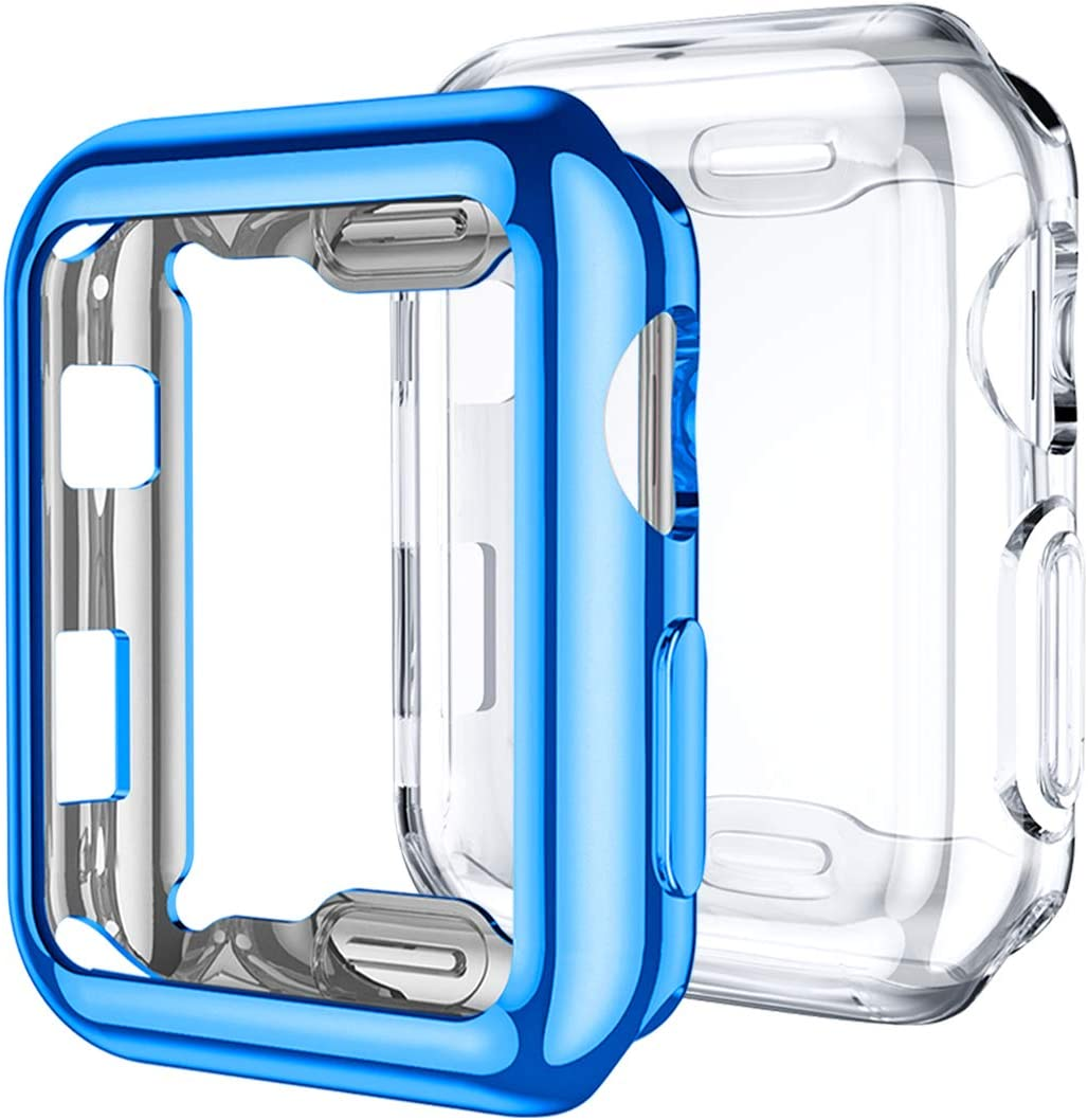 Mastten 2-Pack 38mm Case Compatible for Apple Watch Screen Protector, Full Protective Case TPU HD Ultra-Thin Cover Compatible for iWatch Series 3 2 1, Blue, Clear