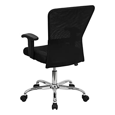 Amazon.com: GO-5307B-GG respaldo medio Negro Mesh Chair Computer contemporáneo con los brazos ajustables y Chrome Base: Cell Phones & Accessories