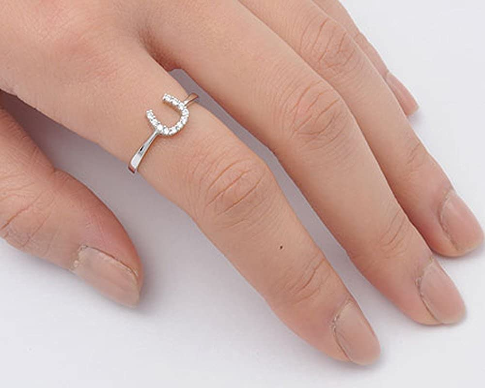 Good Luck Horseshoe U Clear CZ Unique Ring .925 Sterling Silver Band
