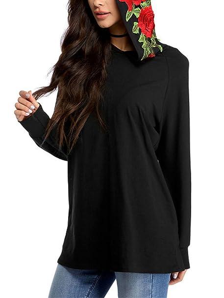 Otoño e Invierno Mujer Outwear Pullover con Bolsillo Jersey Vestidos Sudadera Suelto Sudadera con Capucha de
