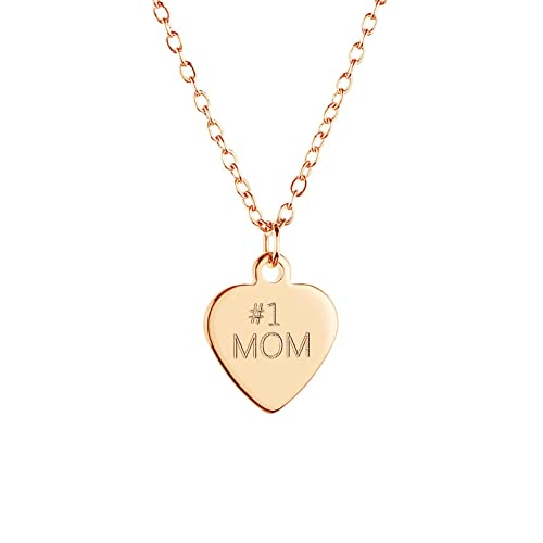 605250bb5 Amazon.com: MignonandMignon #1 Mom Necklace Gold Silver Rose Gold Best Mom  Necklace Heart Pendant Jewelry for Mom (Gold) - DCHN: Jewelry