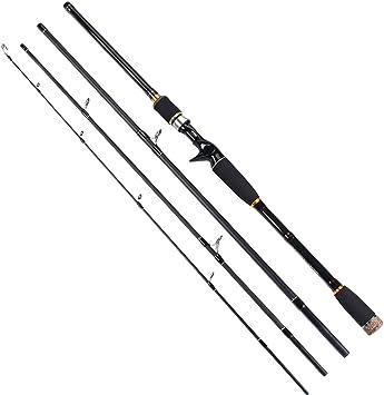 Alftek - Barra de señuelo para pesca de 4 secciones, caña de ...
