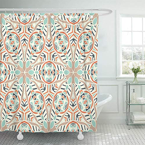 (Emvency Shower Curtain Set Waterproof Adjustable Polyester Fabric Mexican Geometric Ethnic Tribal Pattern Aztec Boho Style Fill Abstract African 72 x 78 Inches Set with Hooks for Bathroom)