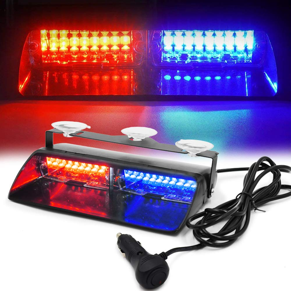 FOXCID LED Law Enforcement Emergency Hazard Warning Strobe Flashing Lights 16 LED High Intensity 18 Modes for Interior Roof Dash Windshield with Suction Cups (Red & Blue)