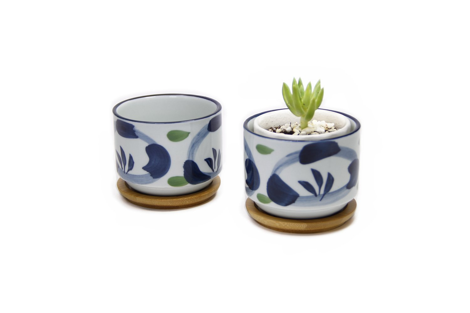 Goldblue Ceramic Small Succulent Pots 3.1Inch Japanese Style Succulent Planter Pots with Bamboo Drip Tray Pack of 2/Orchid by Goldblue