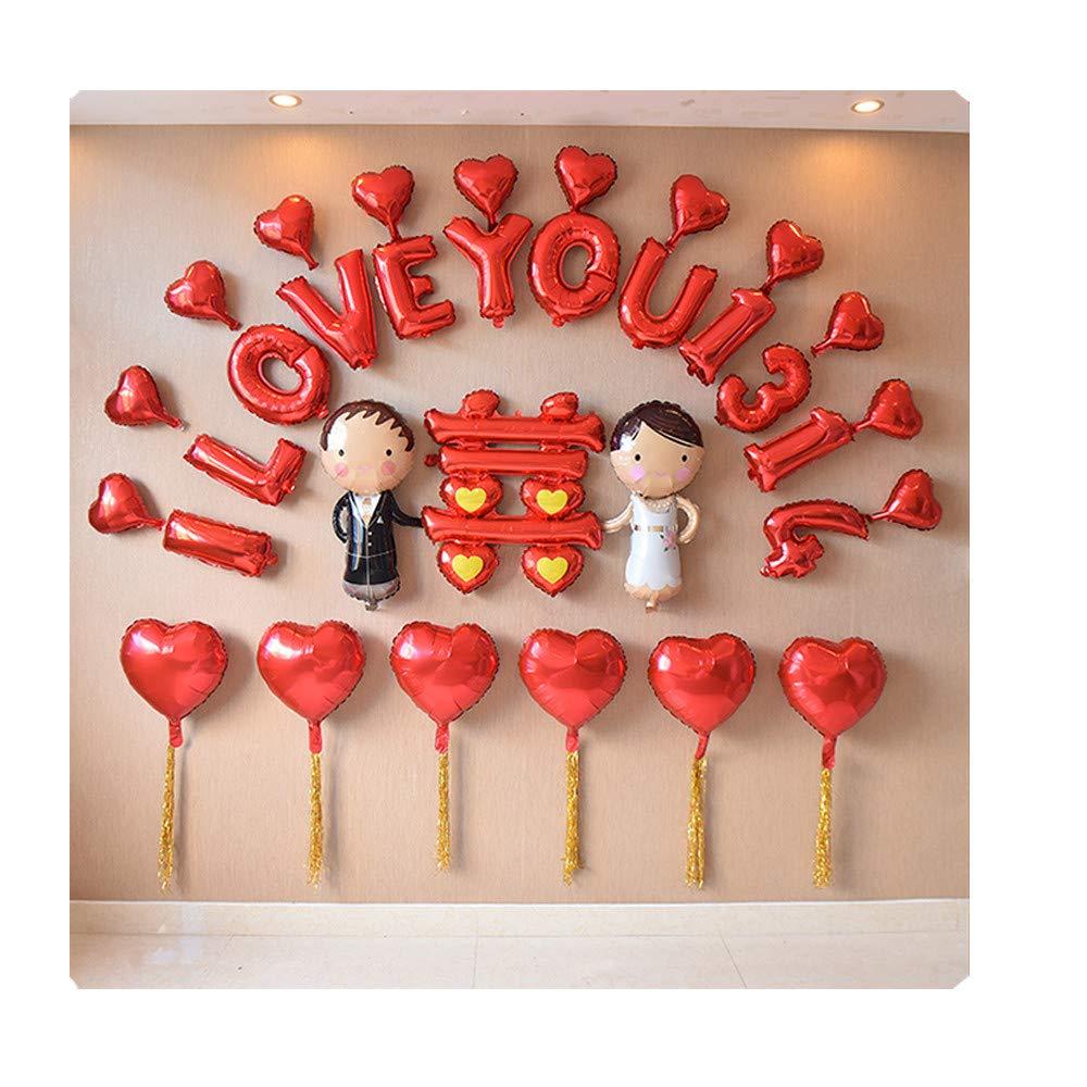 Toujours Amoureux  HEXUAN la Salle Creative nouveau Nuptiale décoration des Cadeaux de Mariage, Mariage Rohommetique Chambre Aluminium Film Festival Ballon décors 16 Pouces,Ruby et Pearl Combinaison