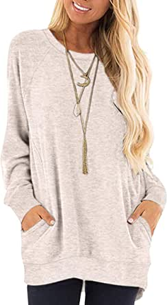 AUSELILY Women's Long Sleeve Round Neck Casual T Shirts Blouses Sweatshirts Tunic Tops with Pocket