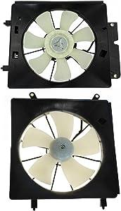 Radiator & AC Condenser Cooling Fan Assembly Pair for 2002-2006 Honda CR-V CRV & 2003-2006 Honda Element