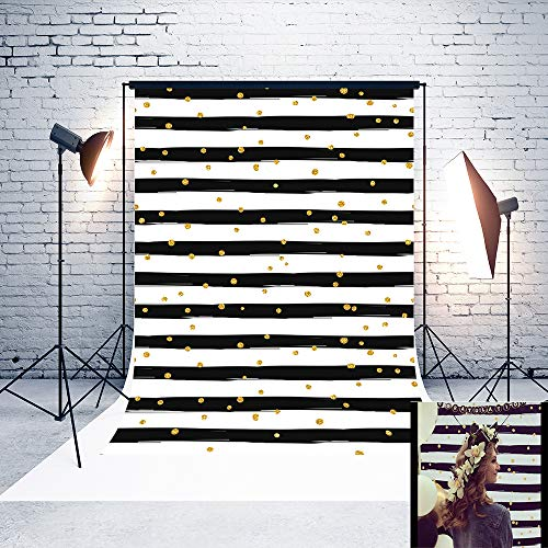 5ft(W) x7(H) Mother's Day Backgrounds Black and White Stripes Gold Dots Microfiber Wedding Photo Backdrop Studio ()