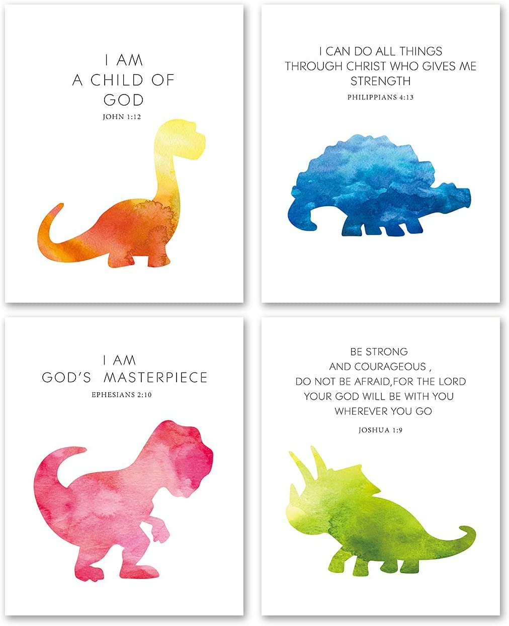 Christian Quotes Bible Scripture Quote Dinosaur Watercolor Wall Art Prints Set of 4 8x10 Unframed - Dinosaur Motivational Saying Wall Decor for Kids Teens Boys Room Bedroom Nursery