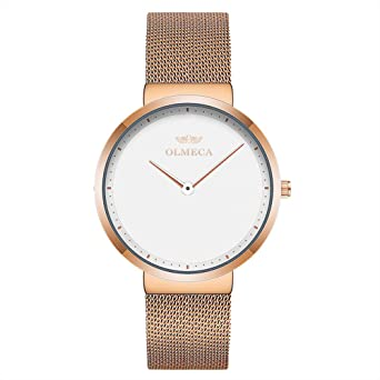OLMECA Mens Watches Fashion Simple Watches Ultra Thin Wristwatches Waterproof Quartz Women Watches Chronograph Watch for