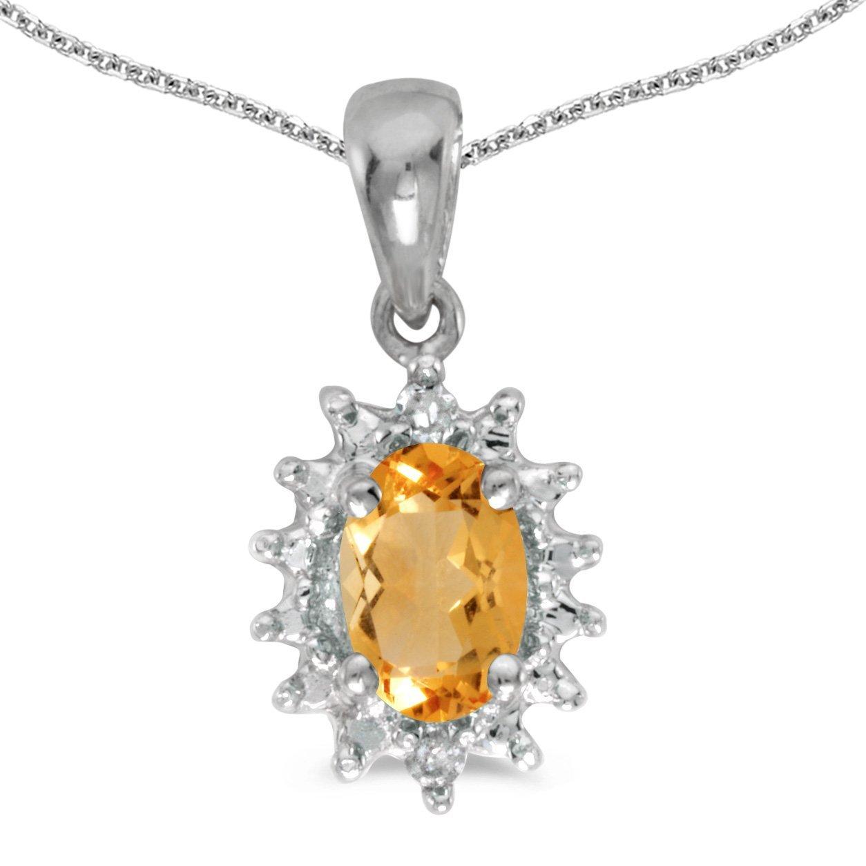 0.47 Cttw. FB Jewels Solid 14k White Gold Genuine Birthstone Oval Gemstone And Diamond Pendant