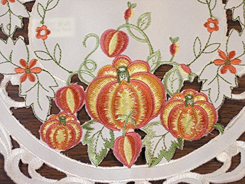 BANBERRY DESIGNS Embroidered Placemats Pumpkin Patch and Sunflowers on Ivory Background - Decorate for Thanksgiving or Halloween this Autumn Fall - Set of 2 - Oval Shaped 11x17, Machine Washable