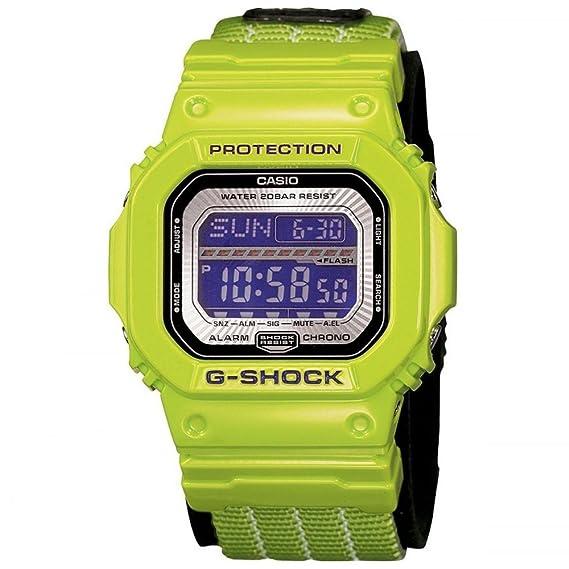 Casio G-Shock - Reloj digital de caballero de cuarzo con correa textil verde (cronómetro, alarma, luz) - sumergible a 200 metros: Amazon.es: Relojes
