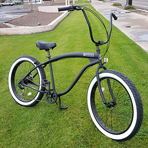 SIKK 3.0 Wide Ride Beach Cruiser Bicycle 7 Speed Flat Black