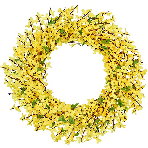 TINGOR 16'' Artificial Forsythia Flower Wreath, Yellow Flower Front Door Wreath Winter Jasmine Outdoor Wreath for Wedding Home Wall Decor
