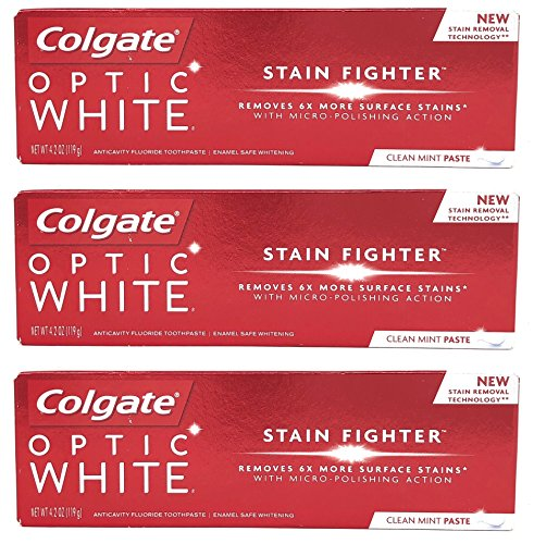 Colgate Optic White Stain Fighter Anticavity Fluoride Toothpaste, Clean Mint Paste, 4.2 Ounces (Pack of 3)