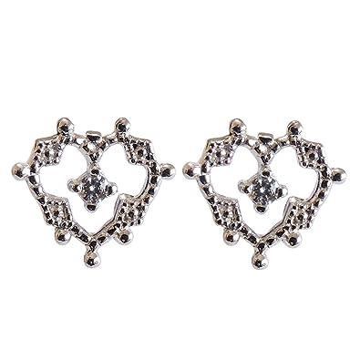 f85ae977fb8521 真珠の杜 ダイヤモンド K18ホワイトゴールド スタッド プチ かわいい ハート型 diamond ダイヤ heart ピアス