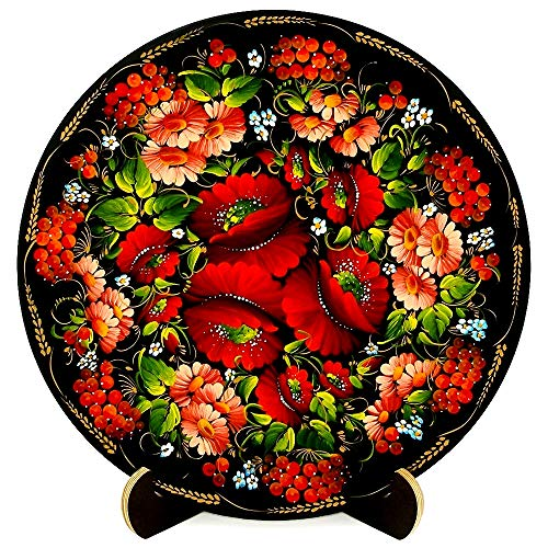 UA Creations Wooden Platter/Plate on Stand - Floral Home Decor Accent Item for Living Room, Kitchen or Fireplace | Wall Hanging or Table Top | Hand Painted and Lacquered Ethnic (Painted Floral Accents)