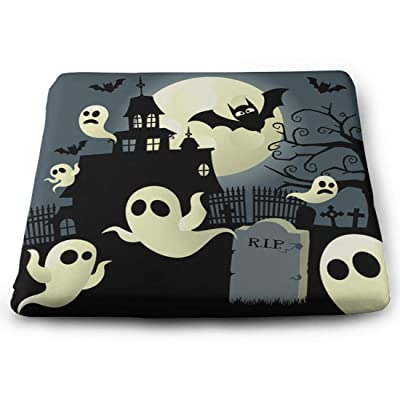 Tinmun Square Cushion, Haunted House Halloween Graveyard Bats Large Pouf Floor Pillow Cushion for Home Decor Garden Party: Home & Kitchen