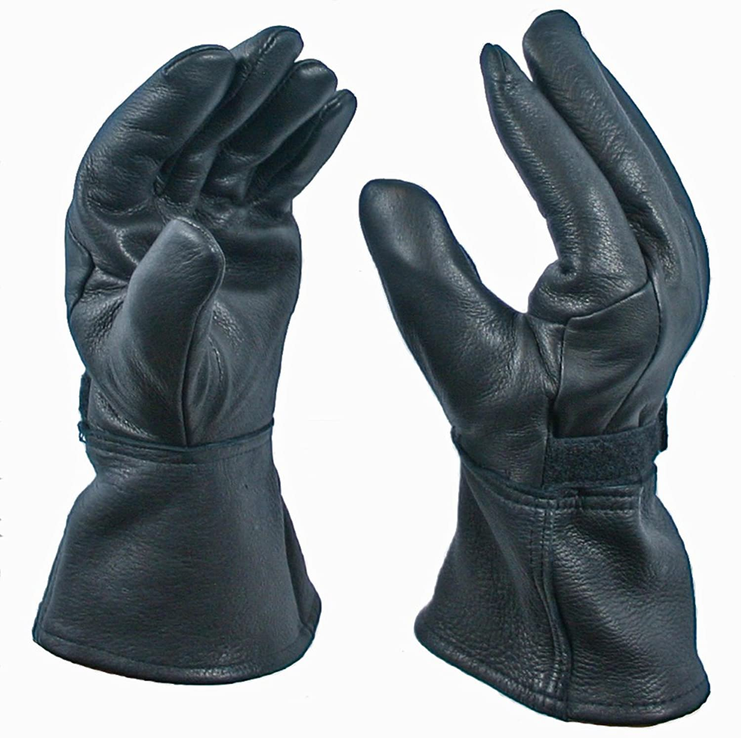 Motorcycle gloves thinsulate - Black Gauntlet Deerskin Motorcycle Glove With 40 Gram Thinsulate Lining At Amazon Men S Clothing Store Driving Gloves