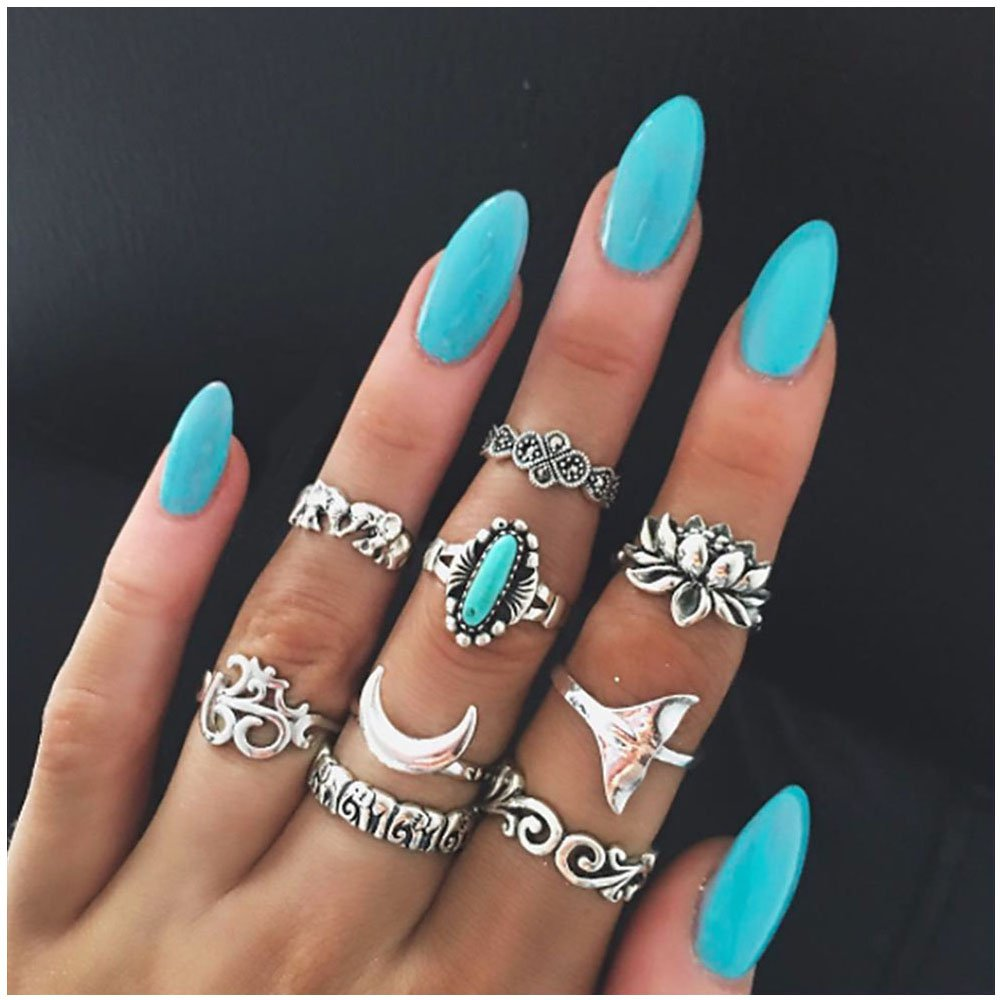 Vintage 9 Pcs Silver Ring Set Turquoise Fishtail Moon Lotus Ring for Women Jewelry MISSU JEWELLRY