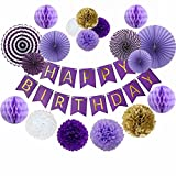 Birthday Party Decoration Set Purple Happy Birthday Bunting Banner Purple Gold White Tissue Paper Pom Poms Paper Flowers Honeycomb Ball and Party Hanging Paper Fans