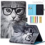 Kindle Paperwhite Case,LittleMax Ultra Slim PU Leather Case Flip Stand Auto Wake/Sleep Cover for All Amazon Kindle Paperwhite (2012/2013/2015/2016 version)-04 Glasses Cat