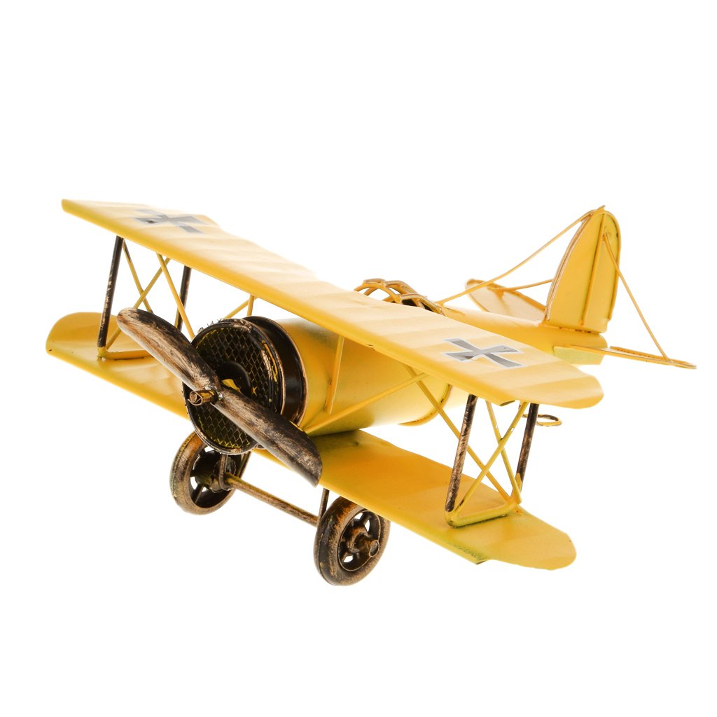 MagiDeal Vintage Metal Airplane Model Biplane Military Aircraft Home ...